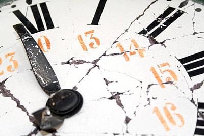 Clock Photograph - Old And Damaged Retro Clock  by Jose Elias - Sofia Pereira