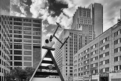 Frost Bank Building Photograph - Old And New Juxtaposed - Downtown Houston Texas by Silvio Ligutti