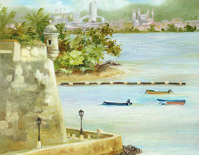 Puerto Rico Painting - Old And New San Juan by Monica Linville