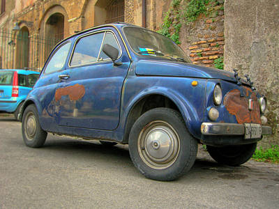 Photograph - Old And Rusted Fiat 500 In Rome by Vlad Baciu