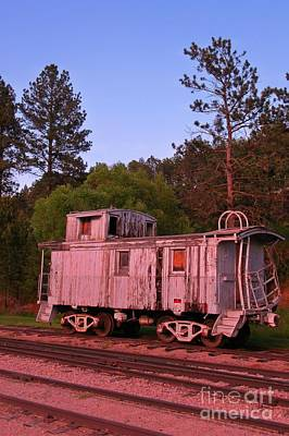 Old And Weathered Caboose Art Print