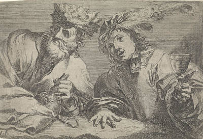 Glass Bottle Drawing - Old And Young Man At A Table, Johann Liss by Johann Liss