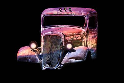 Pink Hot Rod Photograph - Old Antique Classic Car by Gunter Nezhoda