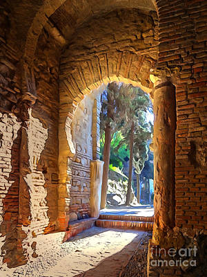 Castle Mixed Media - Old Archway by Lutz Baar