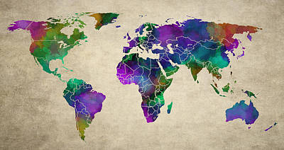 Map Of Australia Digital Art - Old Art Map Of The World by Daniel Hagerman