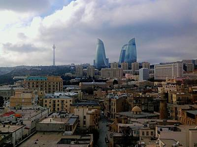 Photograph - Old Baku And Flame Towers by Van Corey