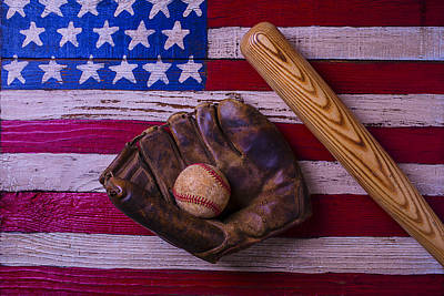 Old Ball And Glove With Bat Art Print by Garry Gay