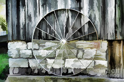 Old Barn And Ford Wheel Print by Luther   Fine Art