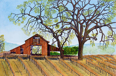 Painting - Old Barn And Oaks by Mike Robles