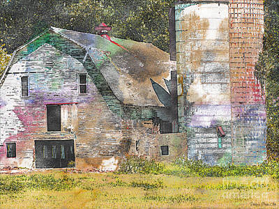 Photograph - Old Barn And Silos Digital Paint by Debbie Portwood