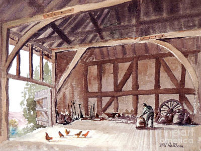 Old Barn Painting - Old Barn At Amberley Sussex by Bill Holkham