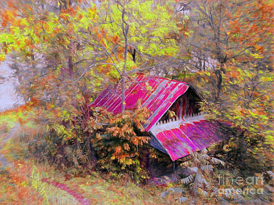 Old Barn Beneath New Trail Art Print by Gena Weiser