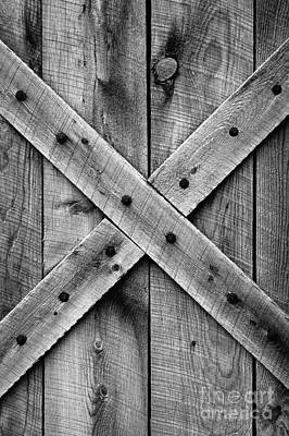 Art Print featuring the photograph Old Barn Door In Black And White by Lincoln Rogers