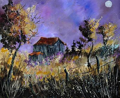 Moonshine Painting - Old Barn In Ardennes  by Pol Ledent