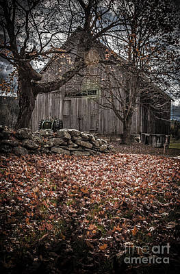 Photograph - Old Barn In Autumn by Edward Fielding