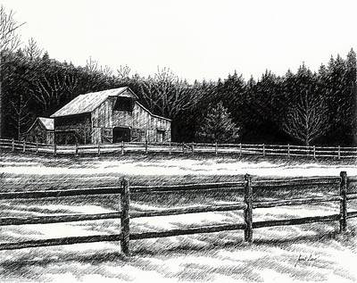 Pen And Ink Of Barn Drawing - Old Barn In Franklin Tennessee by Janet King