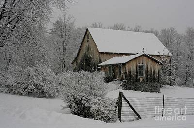 Photograph - Old Barn In Snow by Barbara Bardzik