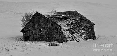 Old Barn Photograph - Old Barn In The Winter by Camille Lyver