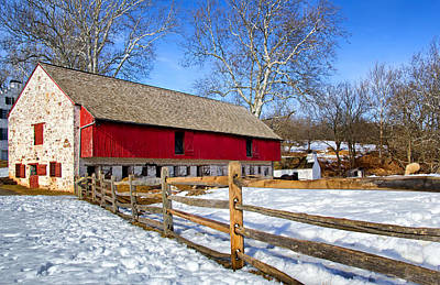 Barns In Snow Photograph - Old Barn In Winter by Carolyn Derstine