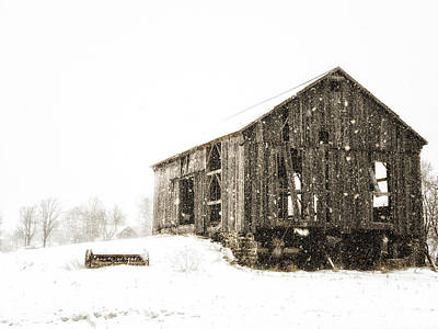 Fine Dining - Old Barn in Winter by Claudio Bacinello