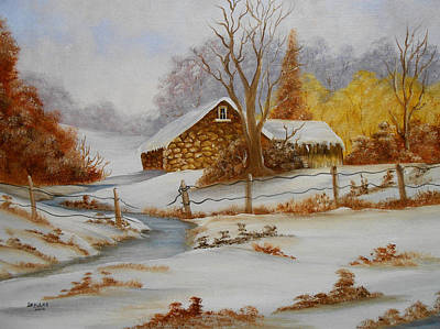 Barns In Snow Painting - Old Barn In Winter by Darlene Prowell