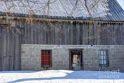 Old Barn In Winter Art Print by Sophie Vigneault