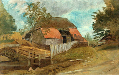 Old Barns Painting - Old Barn, Lionel Constable, 1828-1887 by Litz Collection