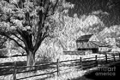 Split Rail Fence Photograph - Old Barn - Old Tree by Paul W Faust -  Impressions of Light