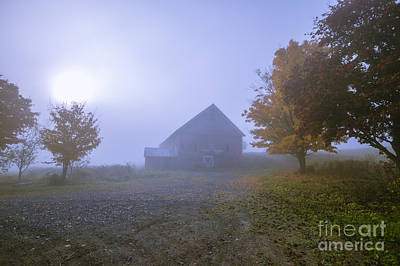 Photograph - Old Barn On A Foggy Blue Autumn Morning In Vermont by Don Landwehrle