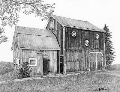 Old Farm Drawing - Old Barn by Sarah Batalka
