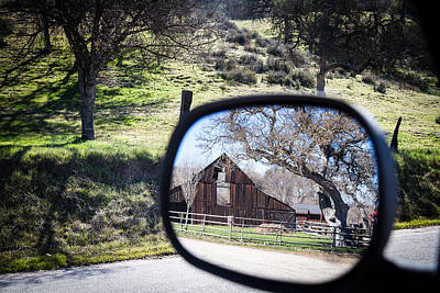 Photograph - Old Barn Scene Thru Rear View Mirror by Dina Calvarese