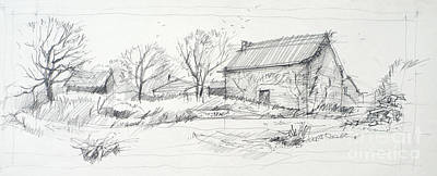 Old Barn Sketch Art Print by Peut Etre