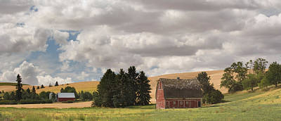 Farm Scenes Photograph - Old Barn Under Cloudy Sky, Palouse by Panoramic Images