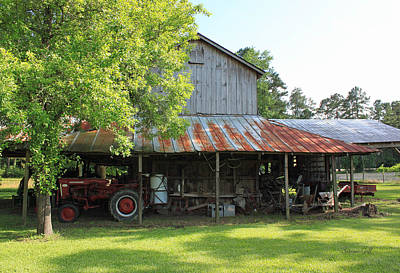 Old Barn With Red Tractor Art Print