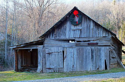 Photograph - Old Barn With White Cat In Winter 2 by Duane McCullough
