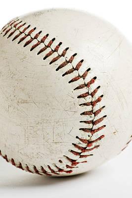 Old Baseball Close Up Print by Donald  Erickson