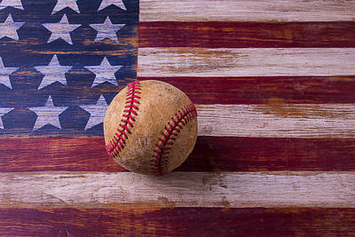 Baseball Art Photograph - Old Baseball On American Flag by Garry Gay