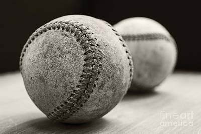 Sports Photograph - Old Baseballs by Edward Fielding