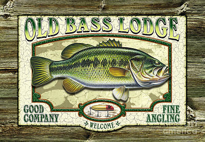 Jon Q Wright Fish Fishing Bass Largemouth Lure Lily Pads Lake Angling Painting - Old Bass Lodge by JQ Licensing