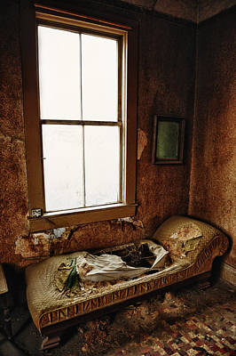 Old Bedroom Chaise In Abandoned Mining Town Home Art Print