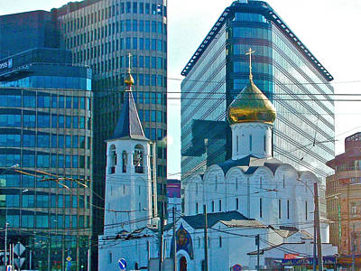 Onion Domes Digital Art - Old Believer-new Believer Church Amid Skyscrapers In Moscow-russia by Ruth Hager