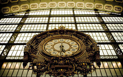 old big awsome clock from Museum dOrsay in Paris France Print by Raimond Klavins