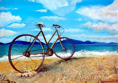 Painting - Old Bike At The Beach by Kostas Koutsoukanidis