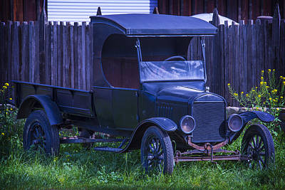 Old Black Ford Truck Art Print by Garry Gay