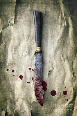 Old Bloody Knife Print by Carlos Caetano