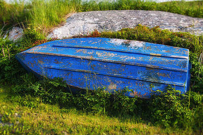 Old Blue Boat Art Print by Garry Gay