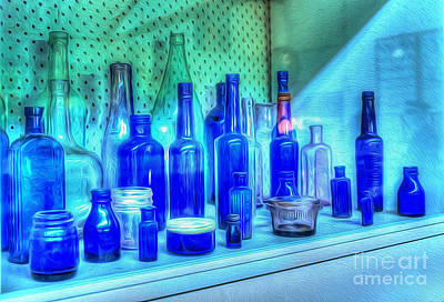 Old Blue Bottles Art Print