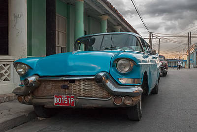 Photograph - Old Blue Car.  by Juan Carlos Ferro Duque
