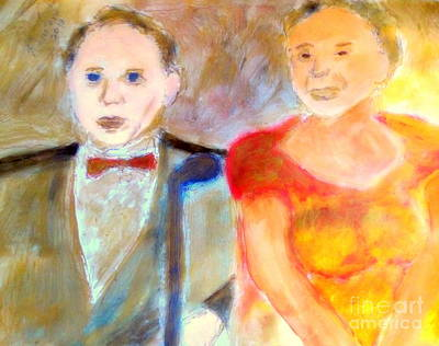 The Tramp Painting - Old Blue Eyes And Old Blue Note Frank Sinatra And Ella Fitzgerald Impressions 1 by Richard W Linford