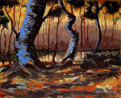 Sycamore Painting - Old Blue Sycamores by Charlie Spear